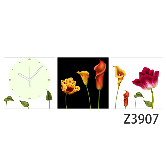 壁掛け時計 日本初!300種類以上のデザインから選ぶパネルクロック◆3枚のアートパネルの壁掛け時計◆hOur Design Z3907 【花】【代引不可】 送料無料