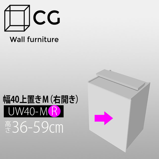 壁面収納家具CG 上置き-幅40 UW40-H36-59-R(右開き)【受注生産品】【代引不可】