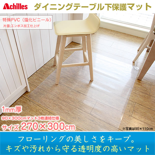 Achilles Transpa Dining Table Under The Protective Mat Flooring Scratches And Stains Sizzling