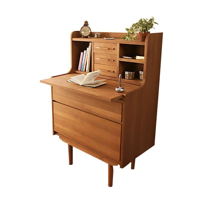 Huonest Writing Desk Width 70 Cm Den Desk Nordic Antique Teak Wood