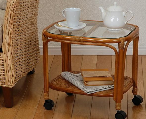 ガラステーブル ラタン キャスター付き 籐 ガラステーブル サイドテーブル 籐製 ラタン リビングワゴン ベッドサイドテーブル ソファサイドテーブル コーヒーテーブル センターテーブル ガラス天板 ガラステーブル ベッドサイドテーブル ソファサイドテーブル キャスター付き
