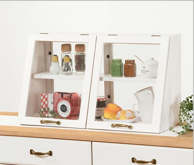 キッチン 収納 カウンター上収納 キッチンカウンター ガラス レトロ 木製 調味料ラック 調味料 棚 おしゃれ 北欧 スパイス 台所収納 ガラスケース 幅60×奥行25×高さ35cm