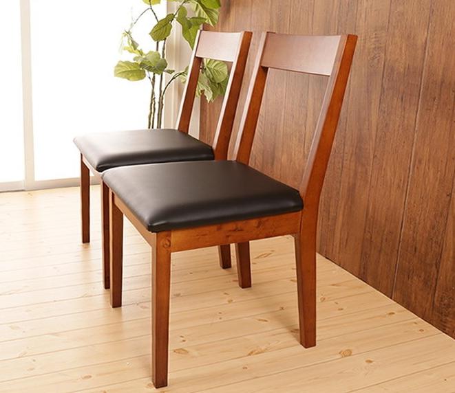 木製ダイニングチェア 2脚 あたたかみのある天然木シンプルデザイン 木製椅子 食事 椅子 PVCレザー座面 いす ダイニングチェア シンプルチェア 背もたれ 2脚セット 北欧風 ナチュラルダイニング ダークブラウン【送料無料】