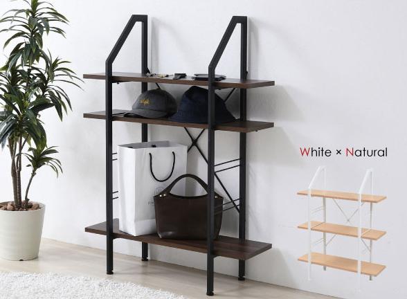 Rita シェルフ 高さ110cm 木製棚板 スチール製フレーム 可動棚 スライド棚 アジャスター付