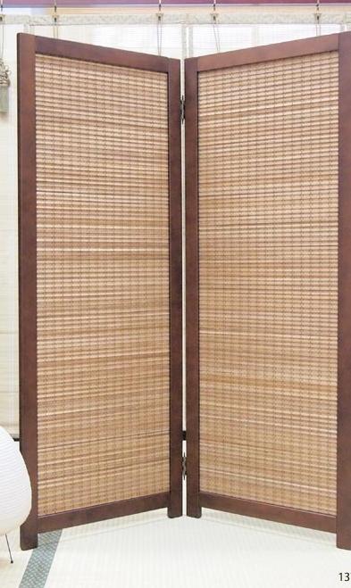 竹すだれ 2連 衝立 パーテーション 幅53×高さ170cm SDー7132 間仕切り 目隠しパネル 置型 竹素材 天然木 リビング 和室 洋室 玄関 二連 折畳み