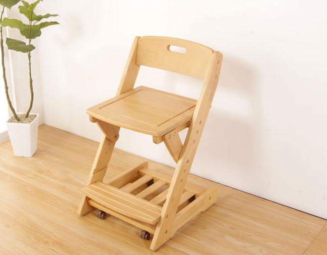 学習チェア 木製 椅子座面高3段階調節 座面下棚付 360度回転式 沈み込みキャスター チェア単品