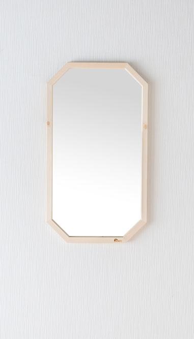鏡 天然木 壁掛けミラー 八角たて長ミラー 幅約33.5cm 高さ約60cm Foresta フォレスタ 姿見 レッドパイン 木製フレーム ウォールミラー 赤松
