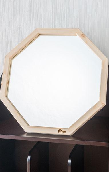 鏡 天然木 スタンド付ミラー 八角ミラー 幅約35cm 高さ約35cm Foresta フォレスタ 置き型 メイクミラー レッドパイン 木製フレーム スタンドミラー 赤松