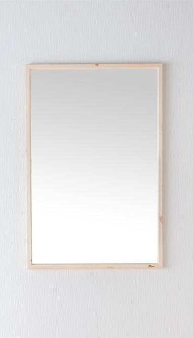 鏡 天然木 ウォールミラー 壁掛けミラー 幅約43.6cm 高さ約70cm Foresta フォレスタ 姿見 レッドパイン 木製フレーム 壁掛け金具付 赤松