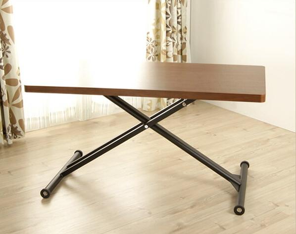 昇降テーブル リフティングテーブル テーブル 大人気のテーブル リビングテーブル センターテーブル ダイニングテーブル 「モーゼル」 簡単操作で高さ調節 昇降式テーブル ウォールナット材使用の深く落ち着きのある木目の風合い ブラウン