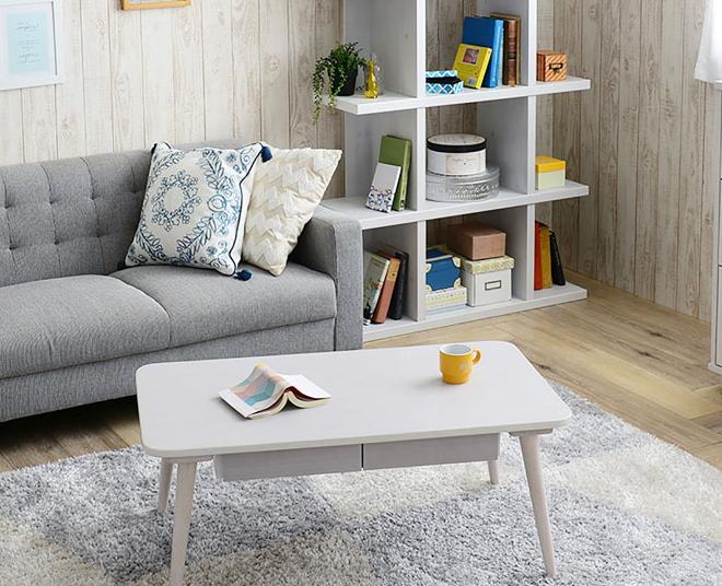 センターテーブル 引出し付 ホワイト 幅90cm リビングテーブル スクエア 長方形 ローテーブル 木製 小物収納