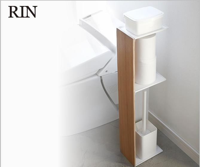 スリムトイレラック リン RIN 掃除道具やトイレットペーパーを目隠し収納 生活感を上手に隠してお洒落にすっきり トイレ収納ラック 美しい木目とナチュラルな雰囲気 トイレを清潔感あふれる空間に デザイン性の高いトイレ収納 ラック ペーパーラック