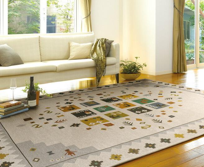 シェニールゴブラン ドルフ ラグ 200×200 グリーン アイボリー エスニック カーペット フローリング 洋室 モダン 絨毯 じゅうたん 高級