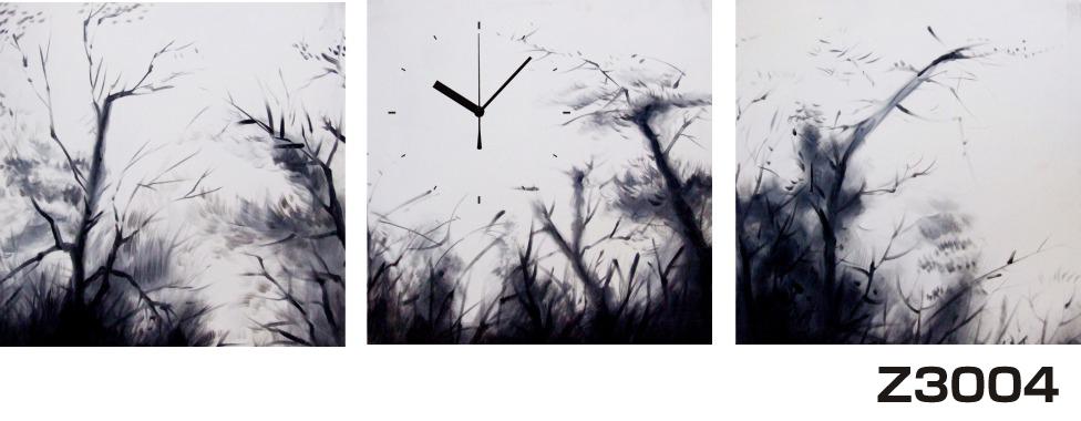日本初!300種類以上のデザインから選ぶパネルクロック◆3枚のアートパネルの壁掛け時計◆hOur DesignZ3004モノクローム【アート】【自然】【代引不可】 送料無料 新生活 引越