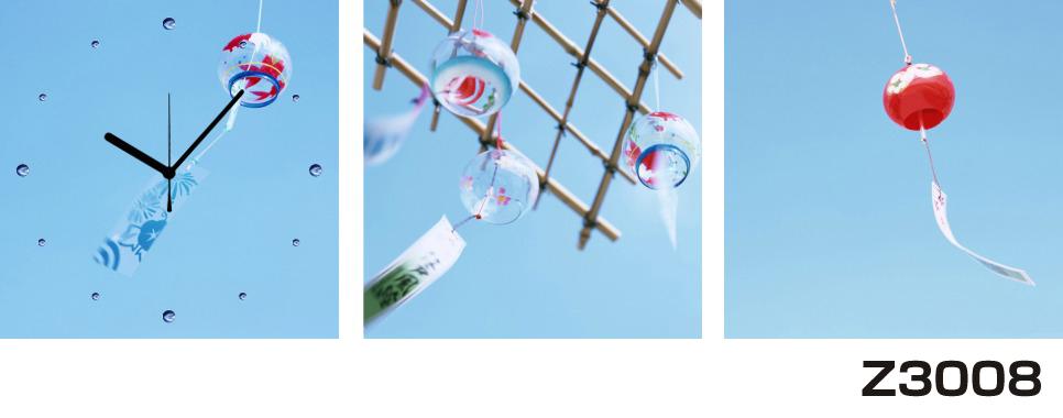 日本初!300種類以上のデザインから選ぶパネルクロック◆3枚のアートパネルの壁掛け時計◆hOur DesignZ3008風鈴【風景】【海・空】【アジア】【代引不可】 送料無料 新生活 引越