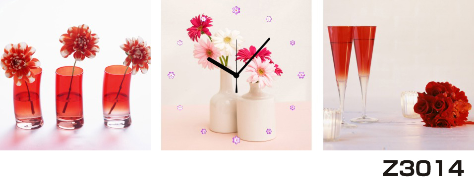 日本初!300種類以上のデザインから選ぶパネルクロック◆3枚のアートパネルの壁掛け時計◆hOur DesignZ3014マーガレット 薔薇【花】【代引不可】 送料無料 新生活 引越