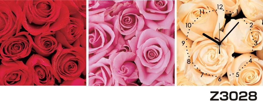 日本初!300種類以上のデザインから選ぶパネルクロック◆3枚のアートパネルの壁掛け時計◆hOur DesignZ3028薔薇【花】【代引不可】 送料無料 新生活 引越