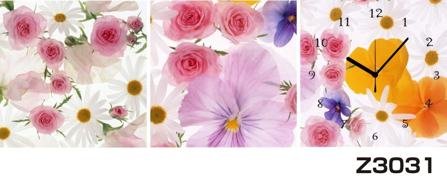 日本初!300種類以上のデザインから選ぶパネルクロック◆3枚のアートパネルの壁掛け時計◆hOur DesignZ3031薔薇【花】【代引不可】 送料無料 新生活 引越