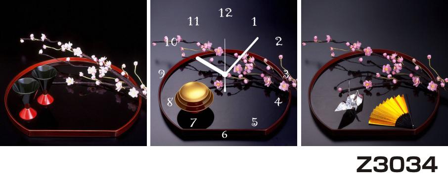 日本初!300種類以上のデザインから選ぶパネルクロック◆3枚のアートパネルの壁掛け時計◆hOur DesignZ3034和風 和盆 梅【アジア】【花】【代引不可】 送料無料 新生活 引越