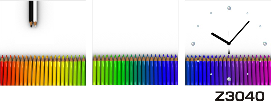 日本初!300種類以上のデザインから選ぶパネルクロック◆3枚のアートパネルの壁掛け時計◆hOur DesignZ3040色鉛筆【アート】【代引不可】 送料無料 新生活 引越