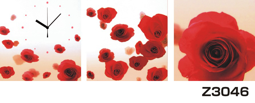 日本初!300種類以上のデザインから選ぶパネルクロック◆3枚のアートパネルの壁掛け時計◆hOur DesignZ3046薔薇【花】【アート】【代引不可】 送料無料 新生活 引越