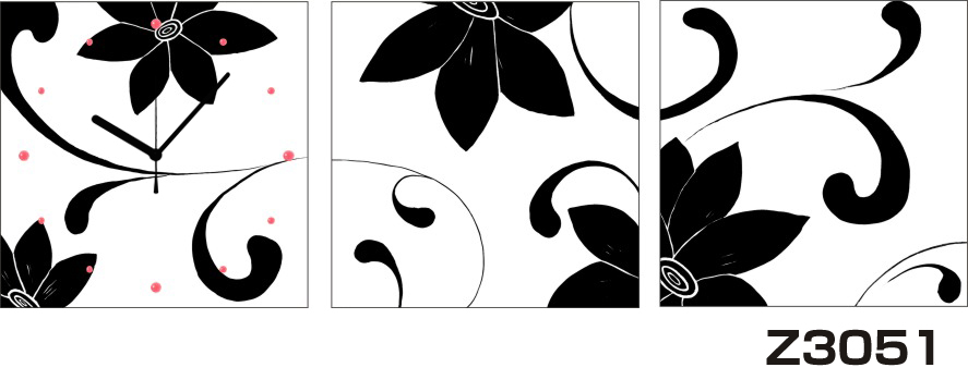 日本初!300種類以上のデザインから選ぶパネルクロック◆3枚のアートパネルの壁掛け時計◆hOur DesignZ3051モノクローム【花】【アート】【代引不可】 送料無料 新生活 引越