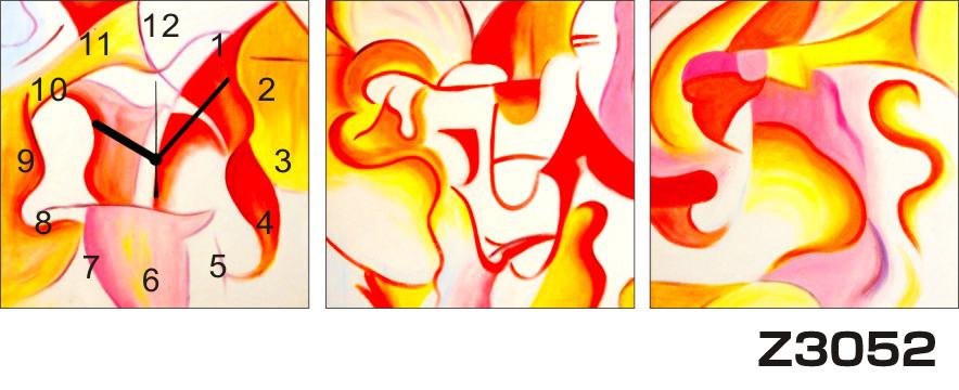 日本初!300種類以上のデザインから選ぶパネルクロック◆3枚のアートパネルの壁掛け時計◆hOur DesignZ3052赤 オレンジ【アート】【代引不可】 送料無料 新生活 引越