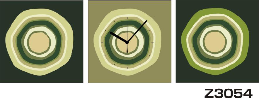 日本初!300種類以上のデザインから選ぶパネルクロック◆3枚のアートパネルの壁掛け時計◆hOur DesignZ3054緑 円【アート】【代引不可】 送料無料 新生活 引越
