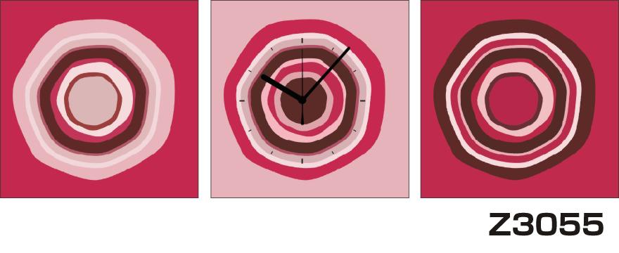 日本初!300種類以上のデザインから選ぶパネルクロック◆3枚のアートパネルの壁掛け時計◆hOur DesignZ3055ピンク 紫 円【アート】【代引不可】 送料無料 新生活 引越