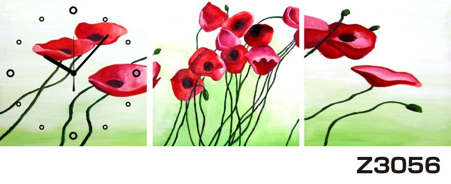 日本初!300種類以上のデザインから選ぶパネルクロック◆3枚のアートパネルの壁掛け時計◆hOur DesignZ3056赤い花【花】【アート】【代引不可】 送料無料 新生活 引越