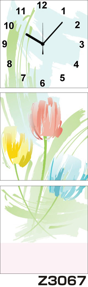 日本初!300種類以上のデザインから選ぶパネルクロック◆3枚のアートパネルの壁掛け時計◆hOur DesignZ3067チューリップ【アート】【花】【代引不可】 送料無料 新生活 引越
