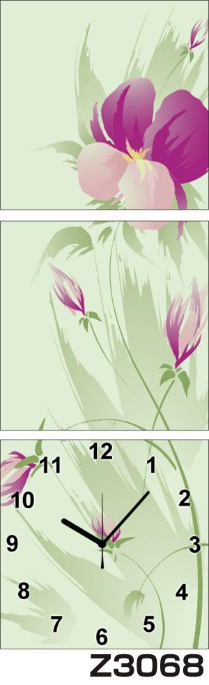 日本初!300種類以上のデザインから選ぶパネルクロック◆3枚のアートパネルの壁掛け時計◆hOur DesignZ3068【アート】【花】【代引不可】 送料無料 新生活 引越