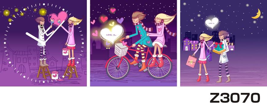 日本初!300種類以上のデザインから選ぶパネルクロック◆3枚のアートパネルの壁掛け時計◆hOur DesignZ3070カップル 自転車【イラスト】【代引不可】 送料無料 新生活 引越