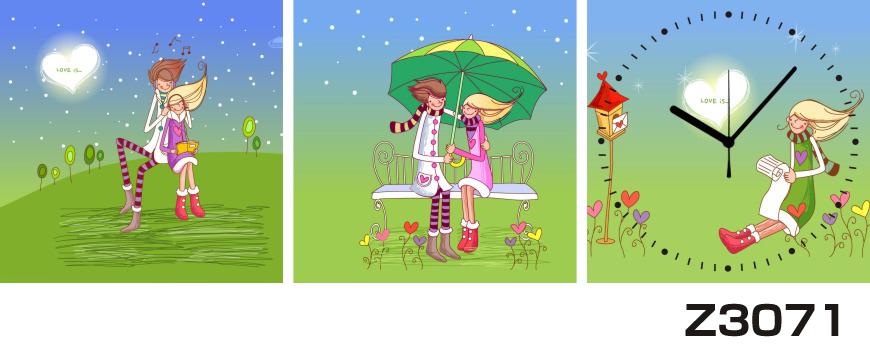 日本初!300種類以上のデザインから選ぶパネルクロック◆3枚のアートパネルの壁掛け時計◆hOur DesignZ3071カップル 傘【イラスト】【代引不可】 送料無料 新生活 引越