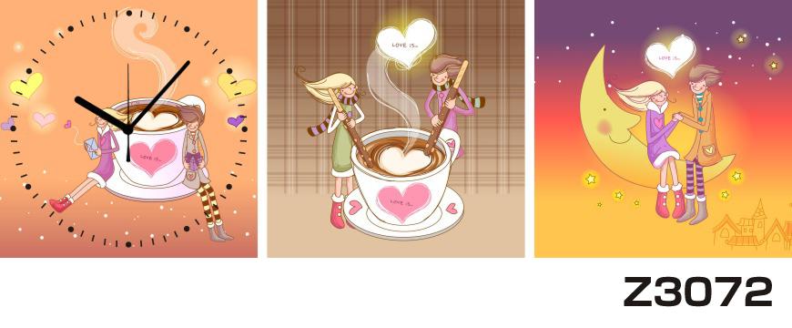 日本初!300種類以上のデザインから選ぶパネルクロック◆3枚のアートパネルの壁掛け時計◆hOur DesignZ3072カップル コーヒーカップ【イラスト】【代引不可】 送料無料 新生活 引越