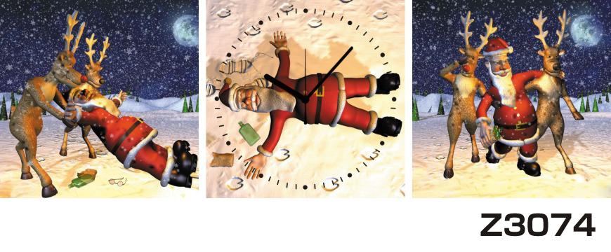 日本初!300種類以上のデザインから選ぶパネルクロック◆3枚のアートパネルの壁掛け時計◆hOur DesignZ3074サンタクロース クリスマス【イラスト】【代引不可】 送料無料 新生活 引越