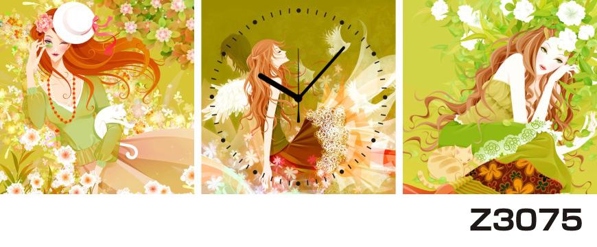 日本初!300種類以上のデザインから選ぶパネルクロック◆3枚のアートパネルの壁掛け時計◆hOur DesignZ3075女性【イラスト】【花】【代引不可】 送料無料 新生活 引越