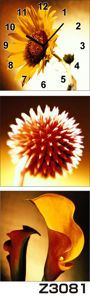 日本初!300種類以上のデザインから選ぶパネルクロック◆3枚のアートパネルの壁掛け時計◆hOur DesignZ3081ひまわり【花】【代引不可】 送料無料 新生活 引越