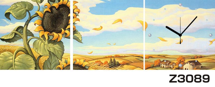 日本初!300種類以上のデザインから選ぶパネルクロック◆3枚のアートパネルの壁掛け時計◆hOur DesignZ3089ひまわり【花】【イラスト】【風景】【自然】【代引不可】 送料無料 新生活 引越