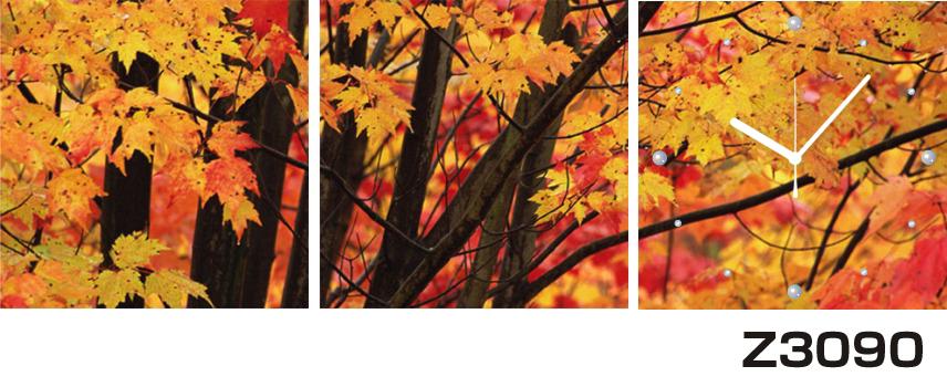 日本初!300種類以上のデザインから選ぶパネルクロック◆3枚のアートパネルの壁掛け時計◆hOur DesignZ3090紅葉【風景】【自然】【代引不可】 送料無料 新生活 引越