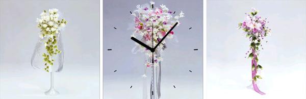 日本初!300種類以上のデザインから選ぶパネルクロック◆3枚のアートパネルの壁掛け時計◆hOur DesignZ3096ブーケ【花】【代引不可】 送料無料 新生活 引越