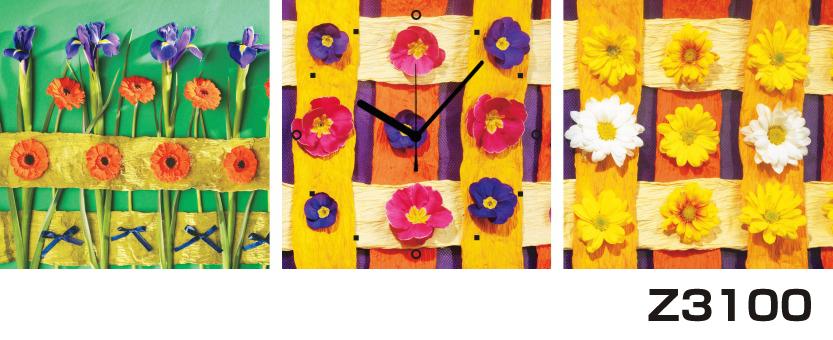 日本初!300種類以上のデザインから選ぶパネルクロック◆3枚のアートパネルの壁掛け時計◆hOur DesignZ3100あやめ【花】【アート】【代引不可】 送料無料 新生活 引越