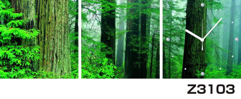 日本初!300種類以上のデザインから選ぶパネルクロック◆3枚のアートパネルの壁掛け時計◆hOur DesignZ3103森林【自然】【代引不可】 送料無料 新生活 引越