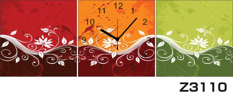 日本初!300種類以上のデザインから選ぶパネルクロック◆3枚のアートパネルの壁掛け時計◆hOur DesignZ3110赤 オレンジ 緑【アート】【花】【代引不可】 送料無料 新生活 引越