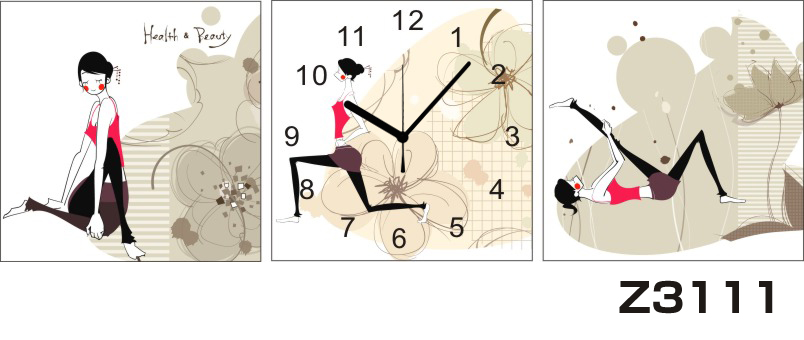 日本初!300種類以上のデザインから選ぶパネルクロック◆3枚のアートパネルの壁掛け時計◆hOur DesignZ3111女性【イラスト】【花】【代引不可】 送料無料 新生活 引越