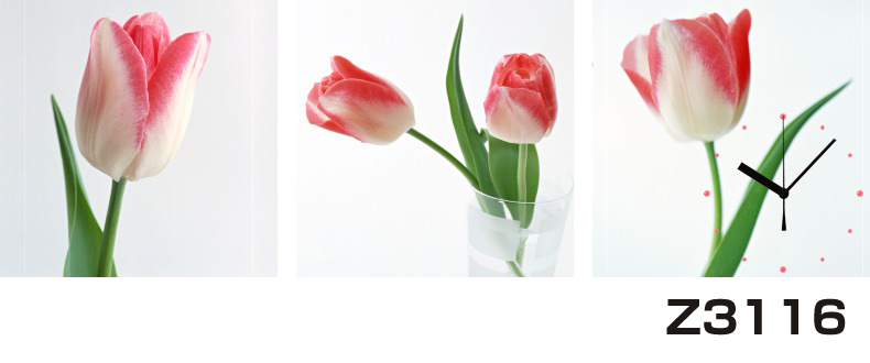 日本初!300種類以上のデザインから選ぶパネルクロック◆3枚のアートパネルの壁掛け時計◆hOur DesignZ3116チューリップ【花】【代引不可】 送料無料 新生活 引越