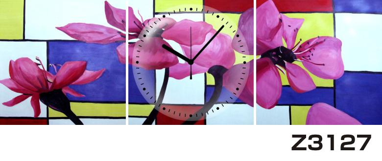 日本初!300種類以上のデザインから選ぶパネルクロック◆3枚のアートパネルの壁掛け時計◆hOur DesignZ3127紫【アート】【花】【代引不可】 送料無料 新生活 引越