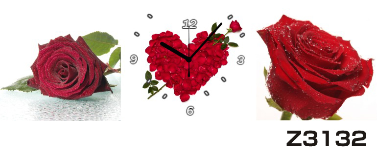 日本初!300種類以上のデザインから選ぶパネルクロック◆3枚のアートパネルの壁掛け時計◆hOur DesignZ3132【花】【代引不可】 送料無料 新生活 引越