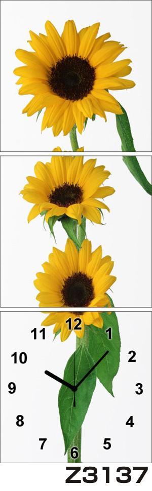 日本初!300種類以上のデザインから選ぶパネルクロック◆3枚のアートパネルの壁掛け時計◆hOur DesignZ3137ひまわり【花】【代引不可】 送料無料 新生活 引越