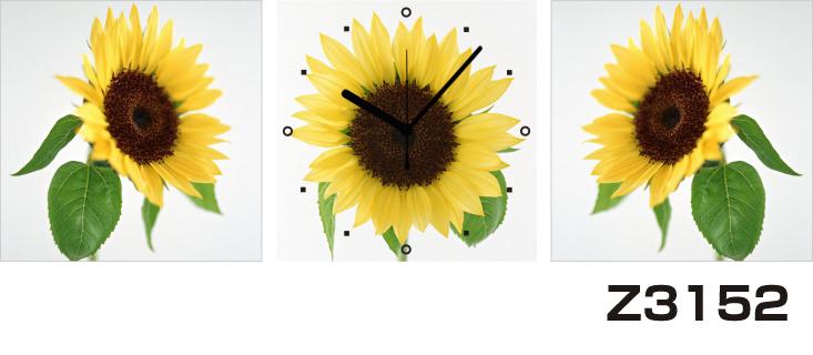 日本初!300種類以上のデザインから選ぶパネルクロック◆3枚のアートパネルの壁掛け時計◆hOur DesignZ3152ひまわり【花】【代引不可】 送料無料 新生活 引越